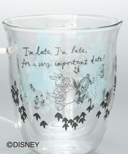 Alice in Wonderland Double Wall Glass Mug Cup Afternoon Tea Japan Disney