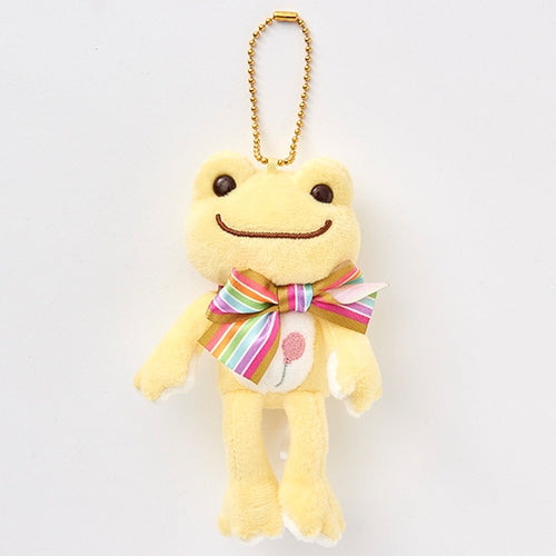 Pickles the Frog Plush Keychain Rainbow Color Ribbon Yellow Japan