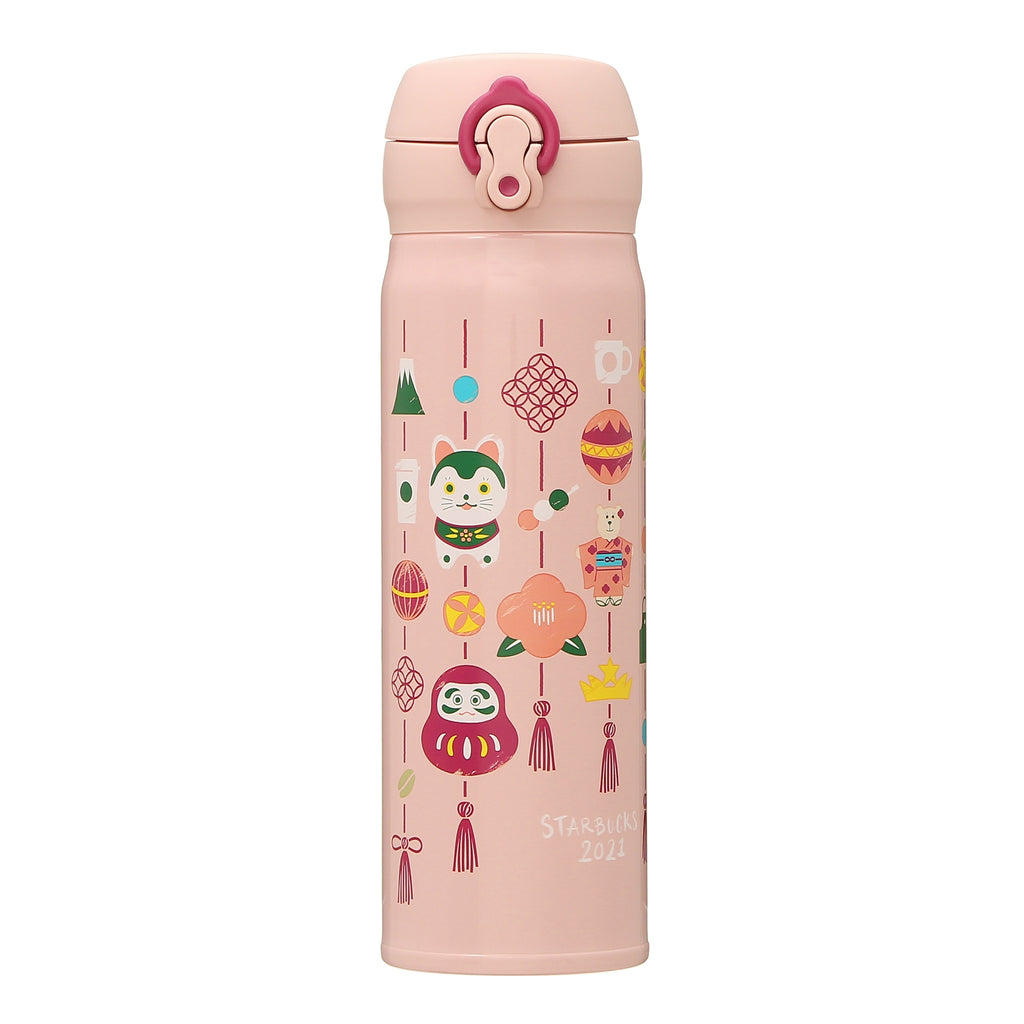Stainless Bottle Daruma Komainu Dog Pink New Year 2021 Starbucks Japan Thermos