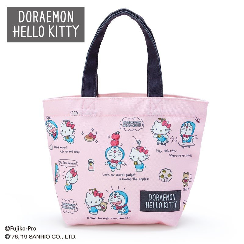 Doraemon & Hello Kitty Canvas mini Tote Bag Sanrio Japan