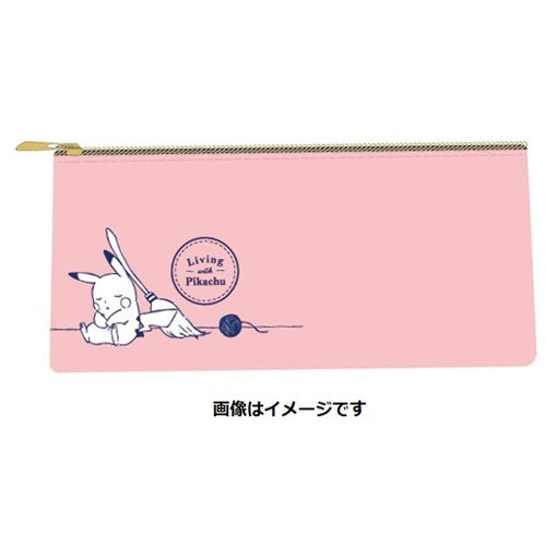 Flat Pouch Pink Living with PIKACHU Pokemon Center Japan Original
