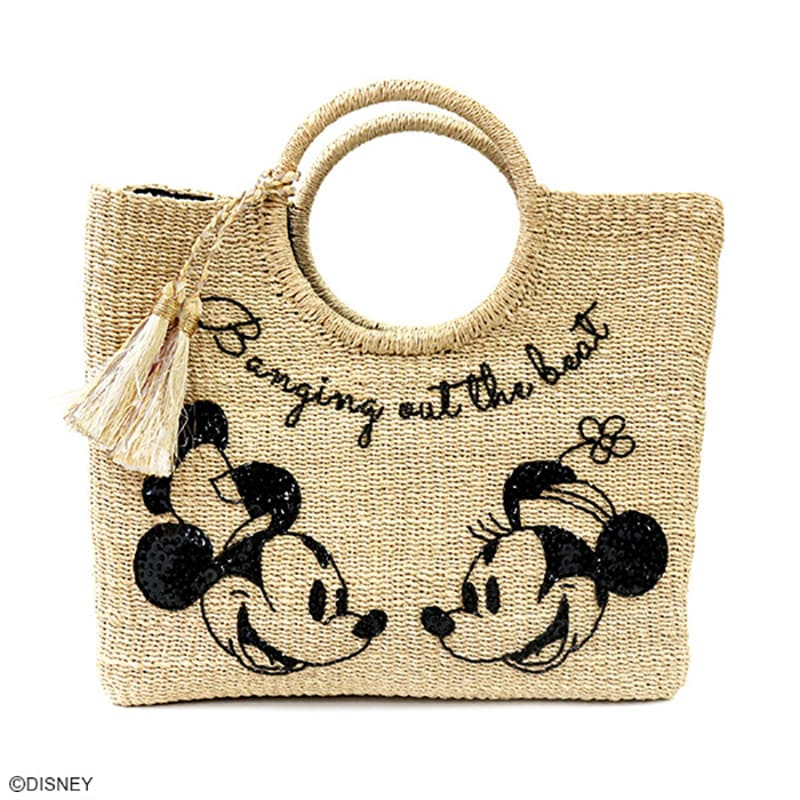 Mickey & Minnie mini Tote Bag Beads Embroidery Beige ACCOMMODE Disney Japan