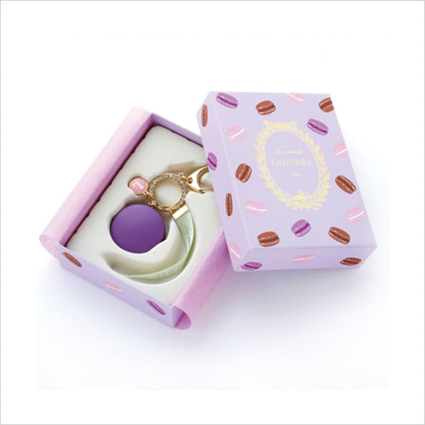 LADUREE Japan Bag Chain Key Ring Macaron Cassis Violette w/ Original Box