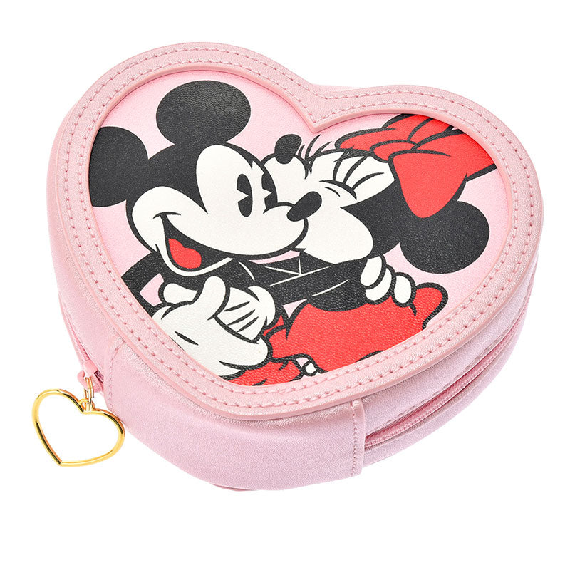 Mickey & Minnie Pouch Heart shape Pink Disney Store Japan