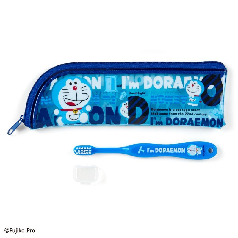 I'm DORAEMON Kids Toothbrush with Case Sanrio Japan