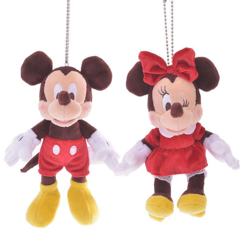 Mickey & Minnie Plush Keychain Valentine 2020 Disney Store Japan