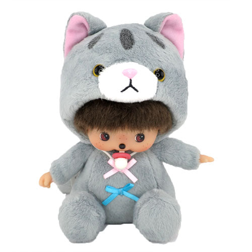 Bebichhichi Doll Girl Silver Tabby Cat Monchhichi Japan