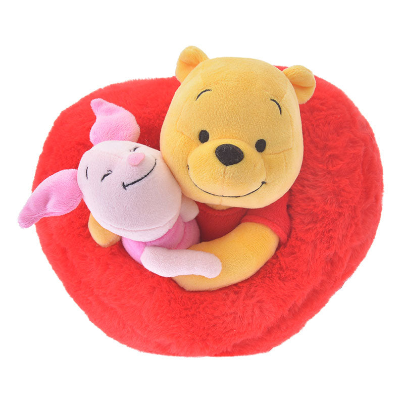 Winnie the Pooh & Piglet Plush Doll Heart Valentine 2019 Disney Store Japan