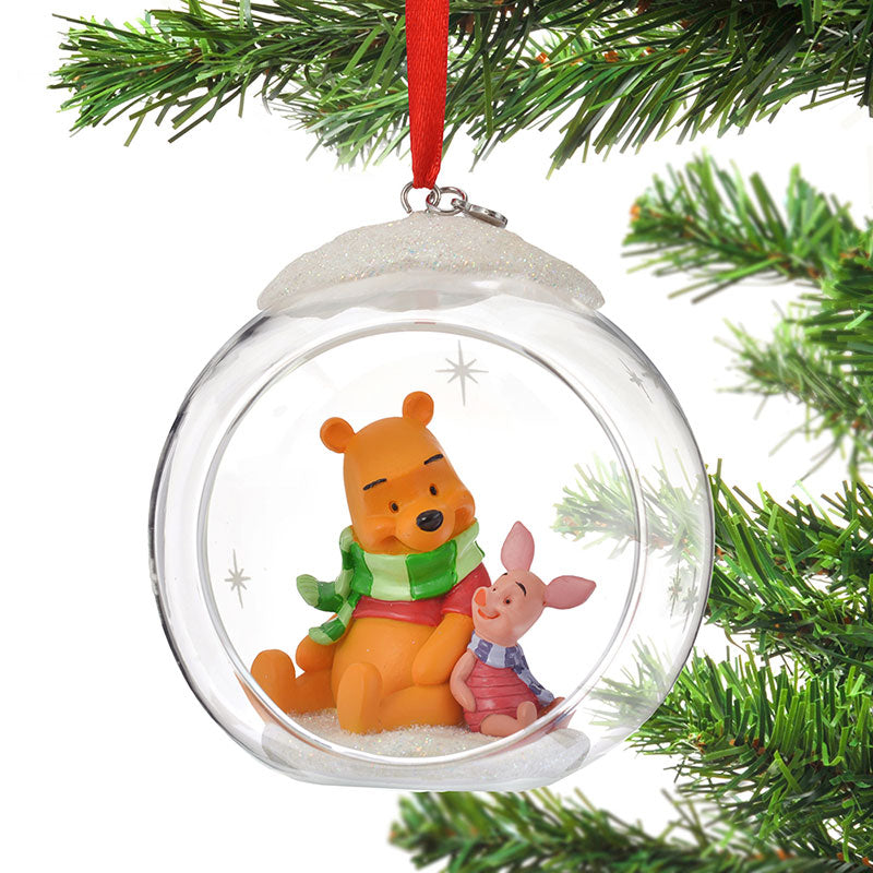 Winnie the Pooh & Piglet Christmas Tree Ornament Glass Ball Disney Store Japan