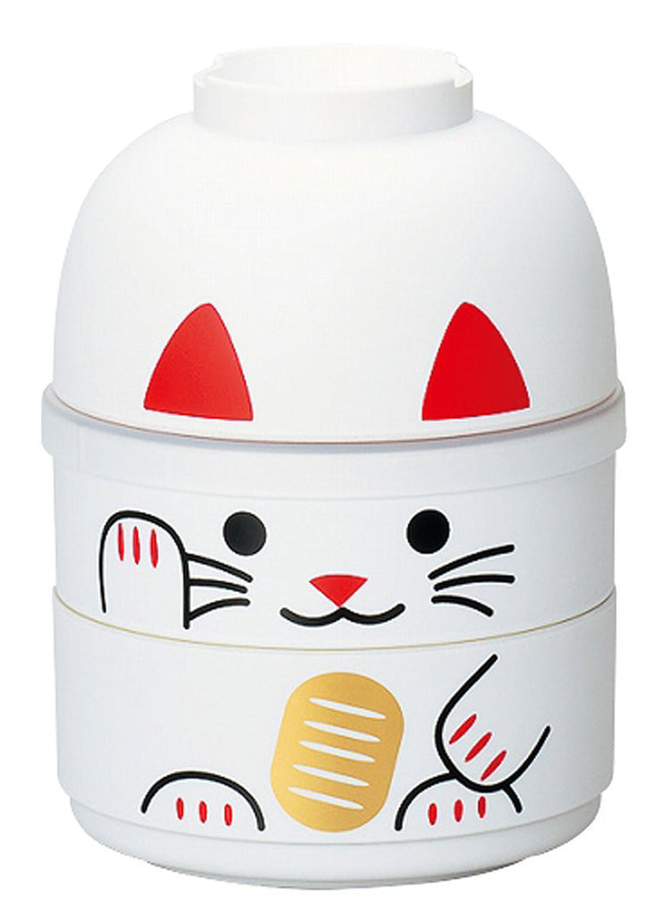 Japanese Kokeshi Bento Lunch Box Manekineko Cat White S HAKOYA Japan 52677