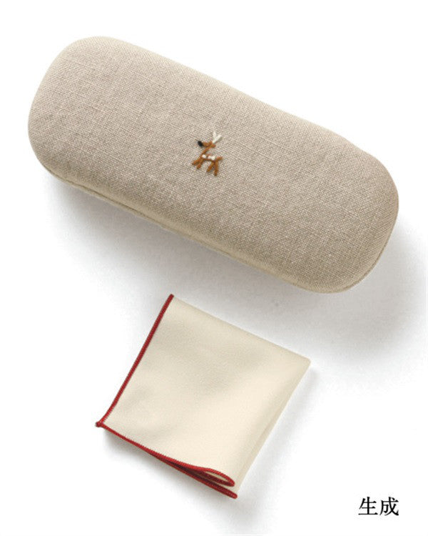 Deer Embroidery Glasses Case Linen Ivory Made in Japan