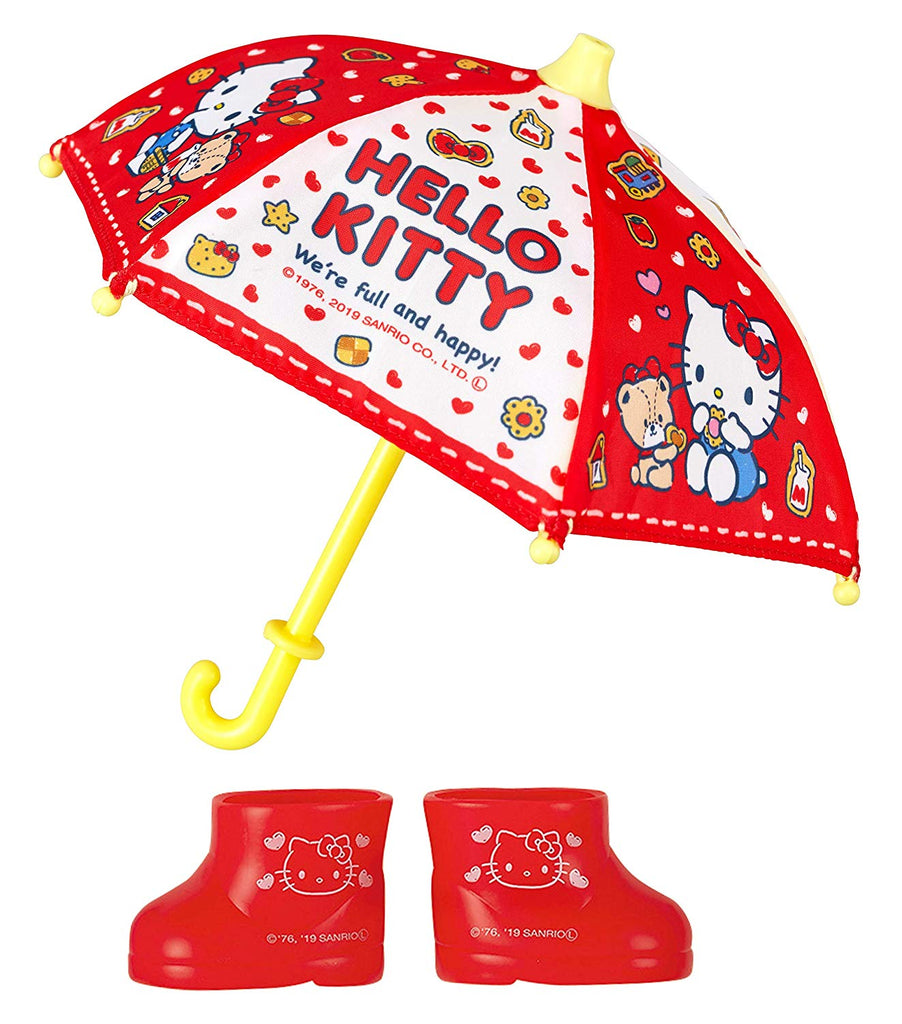 Costume for Mell chan Doll Umbrella Rain Boots Set Red Pilot Japan