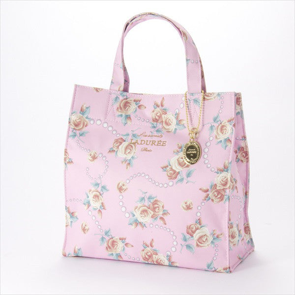 Tote Bag M Rose & Pearl Pink Laduree Japan