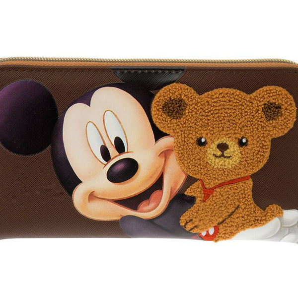 UniBEARsity Mocha Mickey Long Wallet 7th Anniversary Disney Store Japan