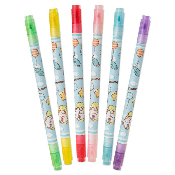 Marumofubiyori Twin Head Color Pen Set Lemon fragrance Balloon Sanrio Japan