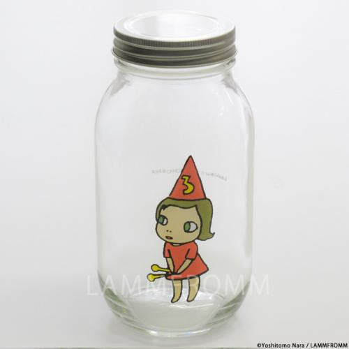 Yoshitomo Nara Glass Storage Jar L Girl 3 Orange Japan Art