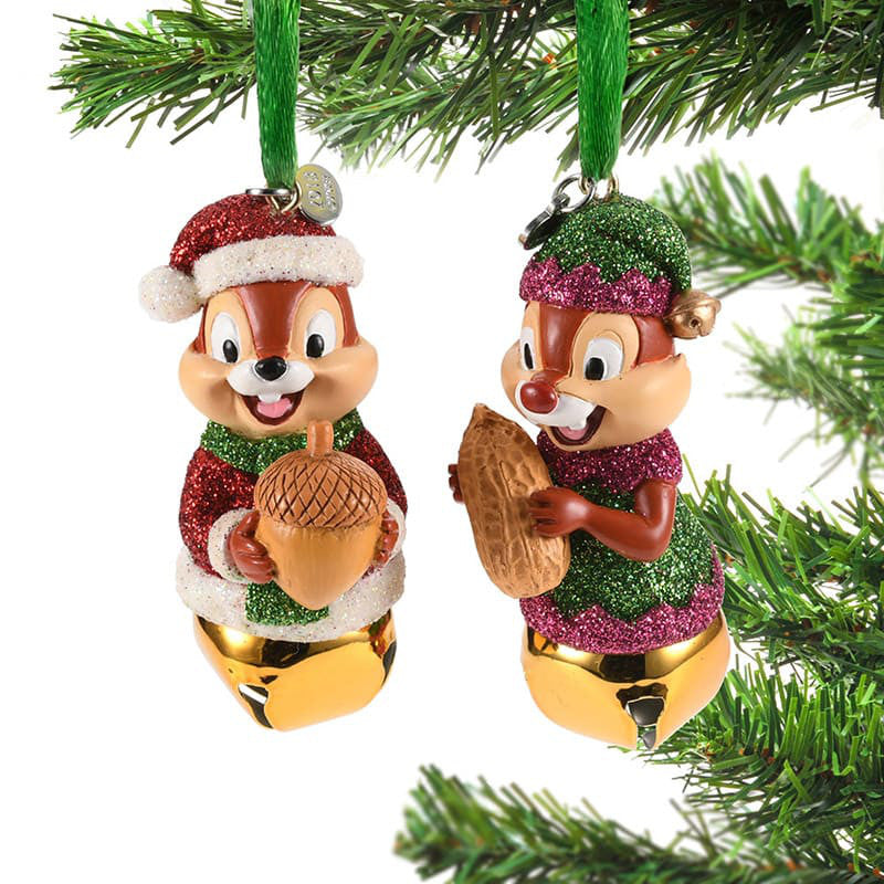 Chip & Dale Christmas Tree Ornament with Bell Disney Store Japan 2018