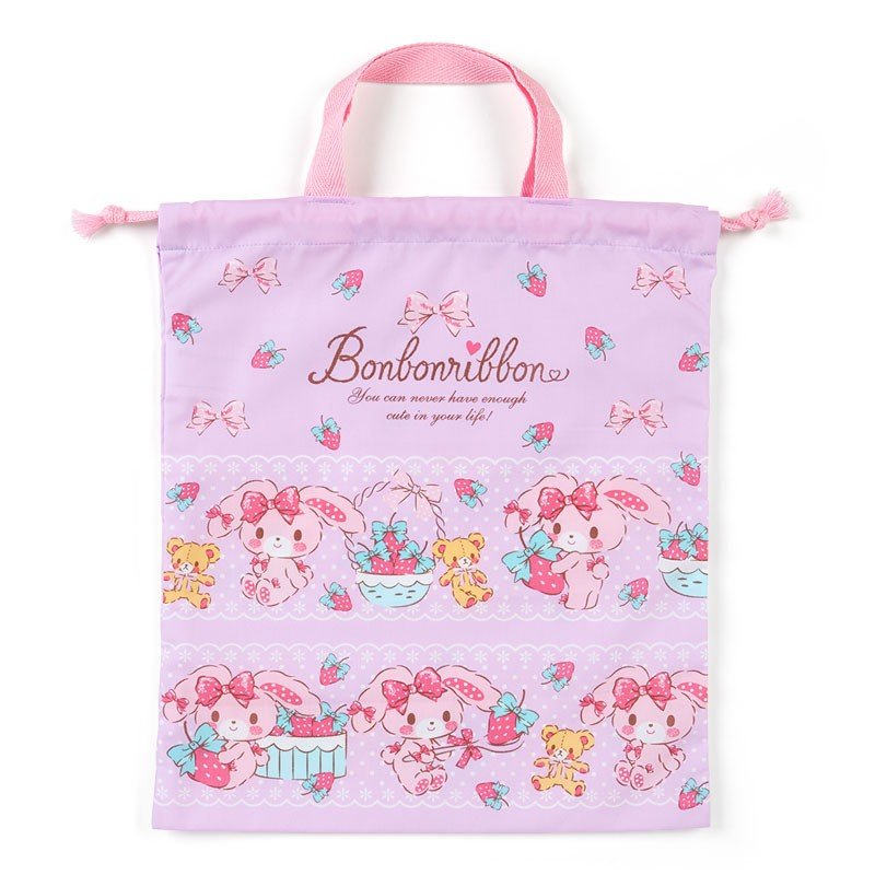 Bonbonribbon Drawstring Pouch with Handle Strawberry Sanrio Japan