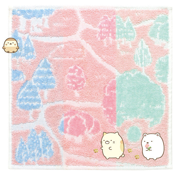 Sumikko Gurashi mini Towel Pink Went to Tokage's House San-X Japan