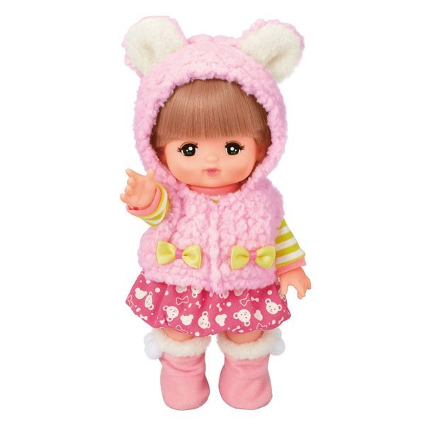 Costume for Mell chan Doll Warm Vest Rabbit Ears Pink Pilot Japan
