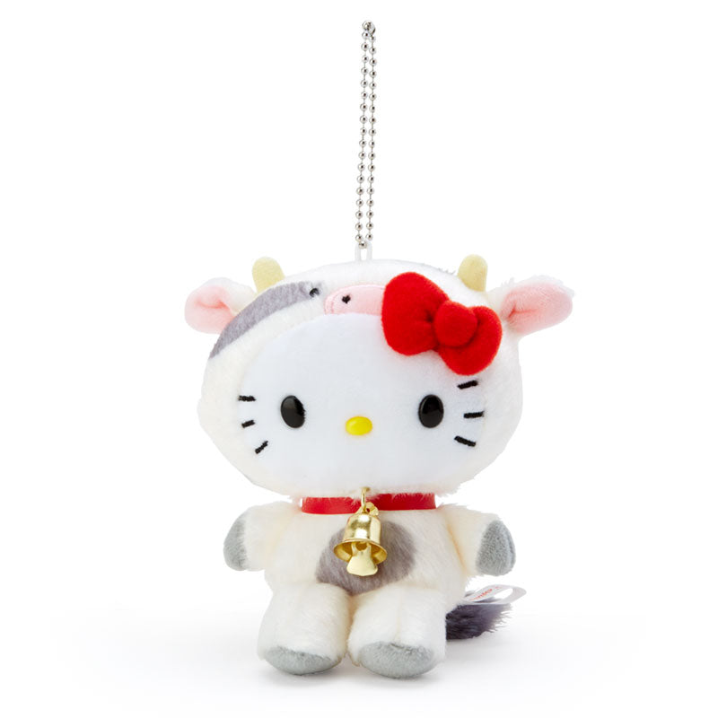 Hello Kitty Plush Mascot Holder Keychain Zodiac Cow Sanrio Japan New Year 2021