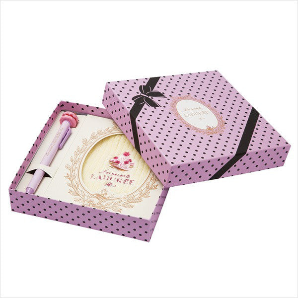 Ball-point Pen mini Towel Gift Box Set Violet Purple Laduree Japan