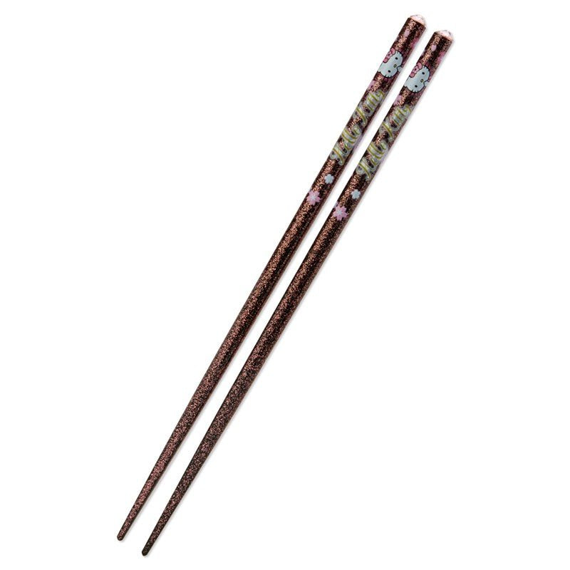 Hello Kitty Chopsticks Glitter Black Sakura Sanrio Japan 2020