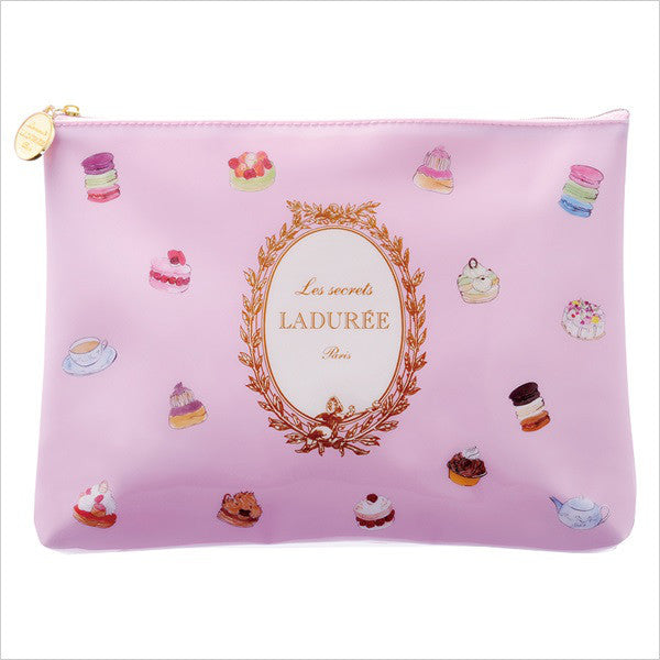 LADUREE Macaron Japan PVC Zipper Flat Pouch L Patisserie Pink Sweets