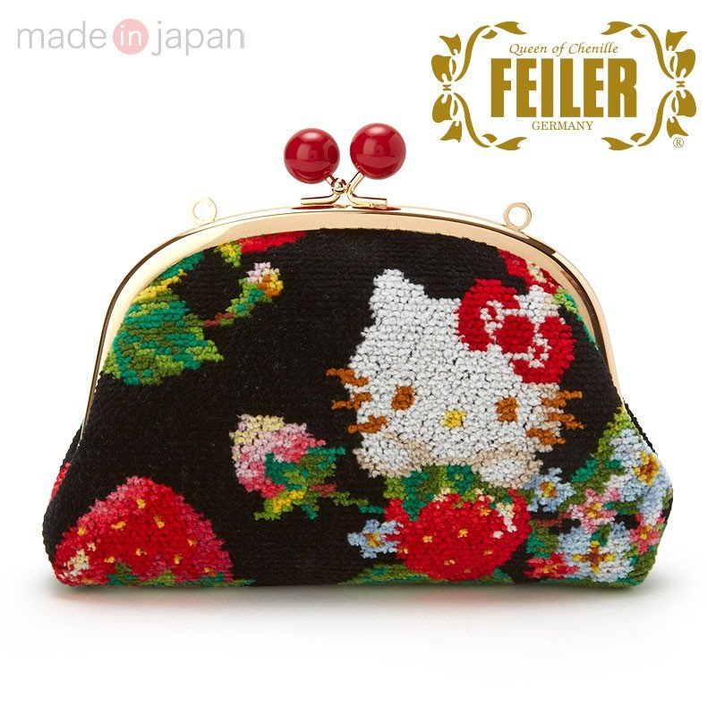 Hello Kitty Clasp Pouch Strawberry FEILER Chenille fabric Sanrio Japan