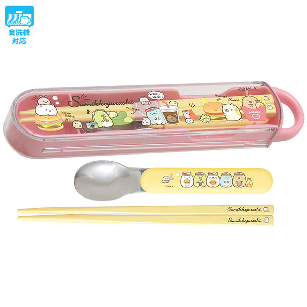Sumikko Gurashi Lunch Combi Chopsticks Spoon Set Hamburger San-X Japan