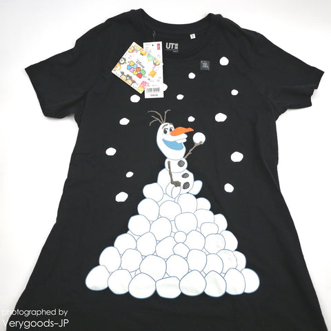 Frozen Olaf UNIQLO x TSUM TSUM Disney T-shirt Japan size XL Black