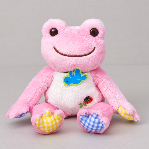 Pickles the Frog Bean Doll Plush Lucky Motif Blue Bird Ladybug Clover Pink Japan