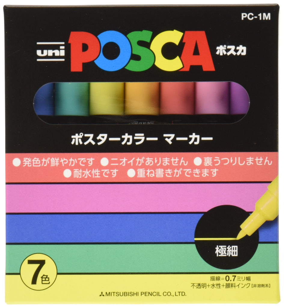 UNI MITSUBISHI POSCA Marker Pen Extra Fine Point Natural 7 colors PC1M7C Japan