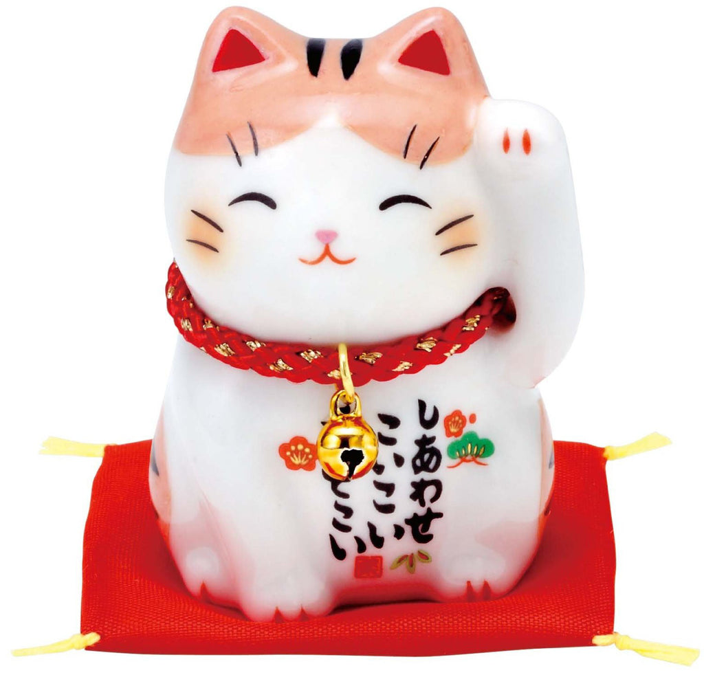 Japan Porcelain Beckoning Lucky Cat Maneki Neko Left Hand Orange Tabby AM-Y7535