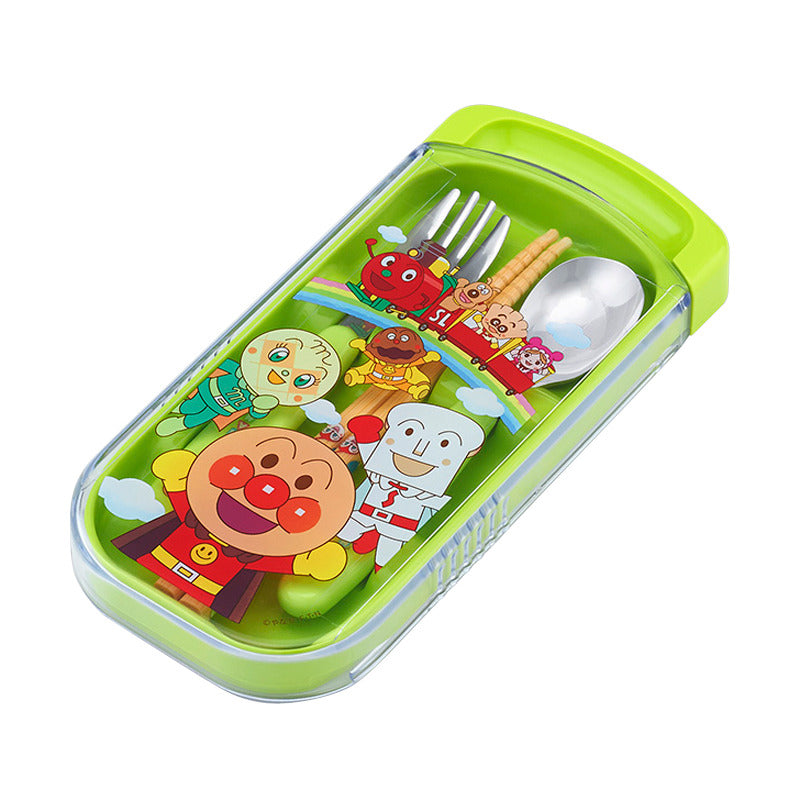 Anpanman Lunch Trio Cutlery Fork Spoon Chopsticks Green Japan