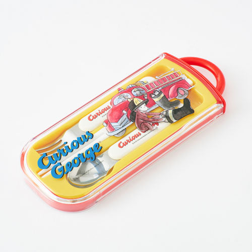 Curious George Lunch Trio Cutlery Fork Spoon Chopsticks Fire truck Japan
