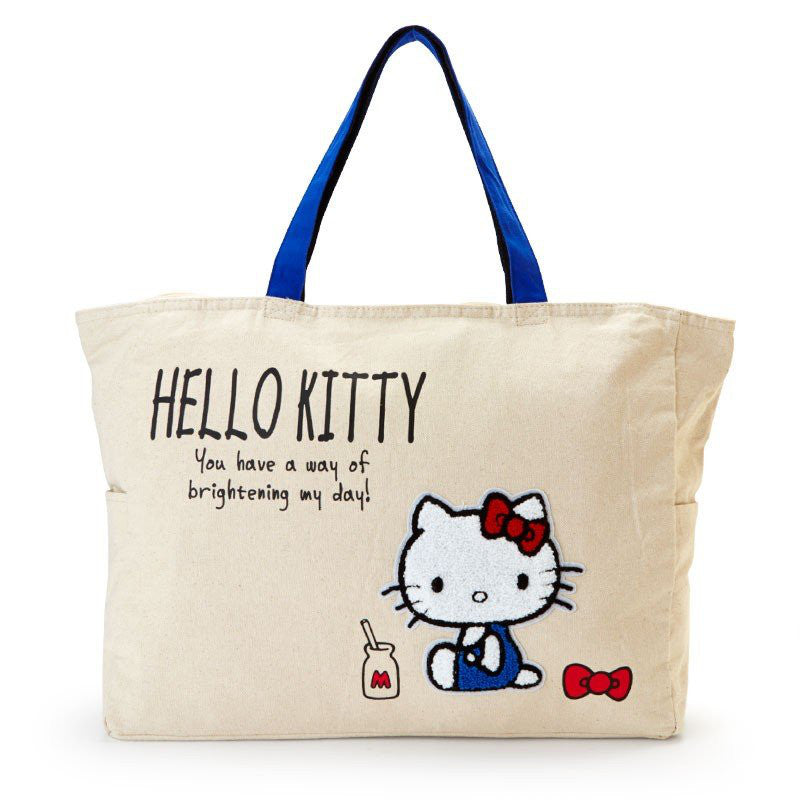 97d061065b23 Hello Kitty Big Tote Bag Sagara Embroidery Milk Sanrio Japan
