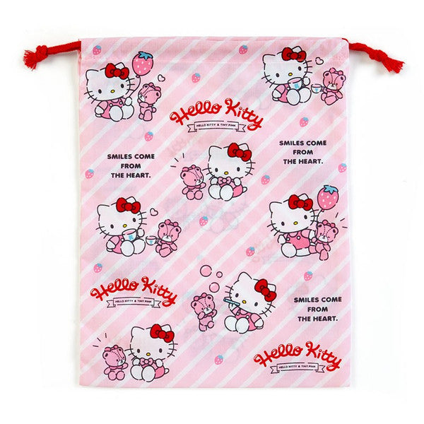 cab48792f Hello Kitty Drawstring Bag Pouch M Strawberry Sanrio Japan ...