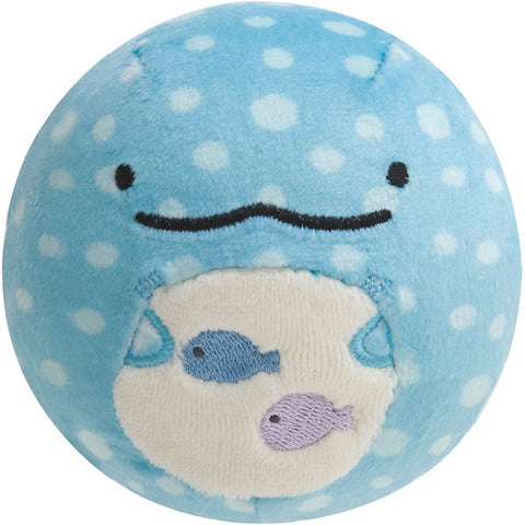 Jinbei San Whale Shark Round Plush Doll Face Smile Super Soft Mocchi San-X Japan