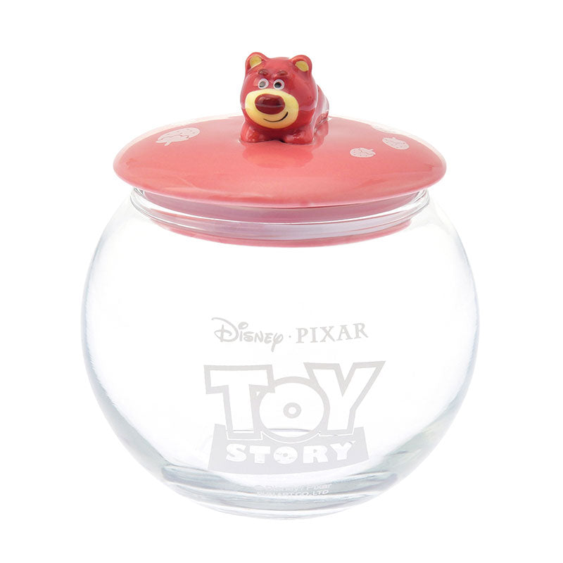 Toy Story LOTS O HUGGIN Bear Canister Glass Round Disney Store Japan