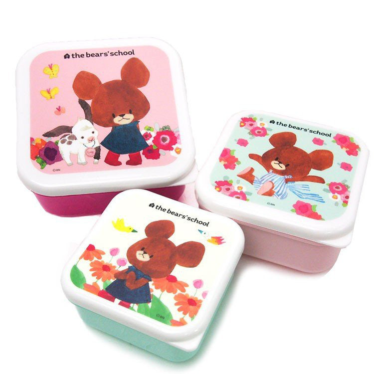 Jackie Lunch Box Bento 3pc Set Pink the bears' school Japan
