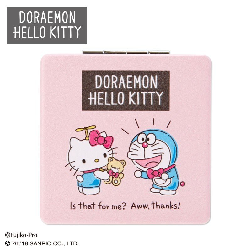 Doraemon & Hello Kitty Compact Double Mirror Sanrio Japan