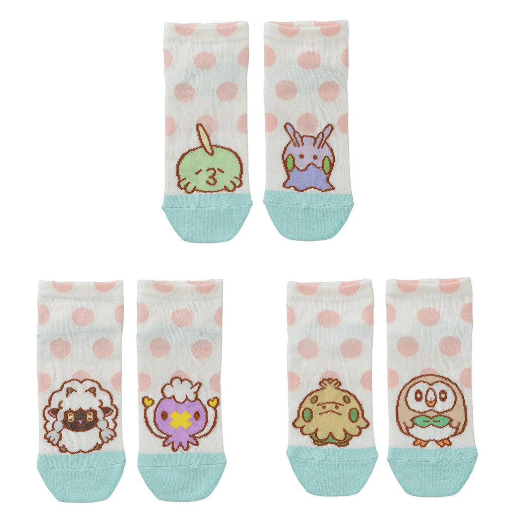 Short Socks 23~25cm 3pcs Set V4 Soft Round Pokemon Center Japan Original