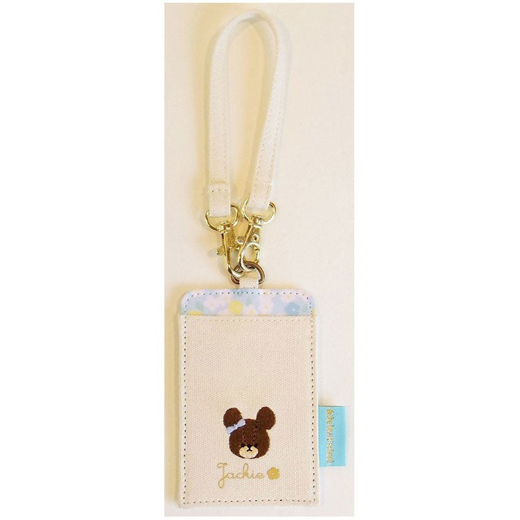 Jackie ID Card Pass Case Blue Flower the bears' school Japan