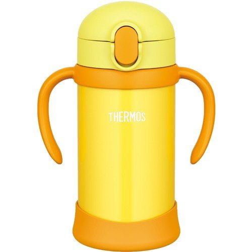 Stainless Training Straw Mug Cup 350ml FHV-350-Y Yellow Thermos Japan Baby