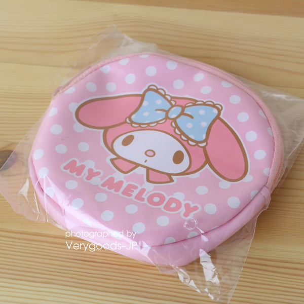 My Melody Round Mini Pouch Pink Zipper Circle Sanrio friendship club Japan
