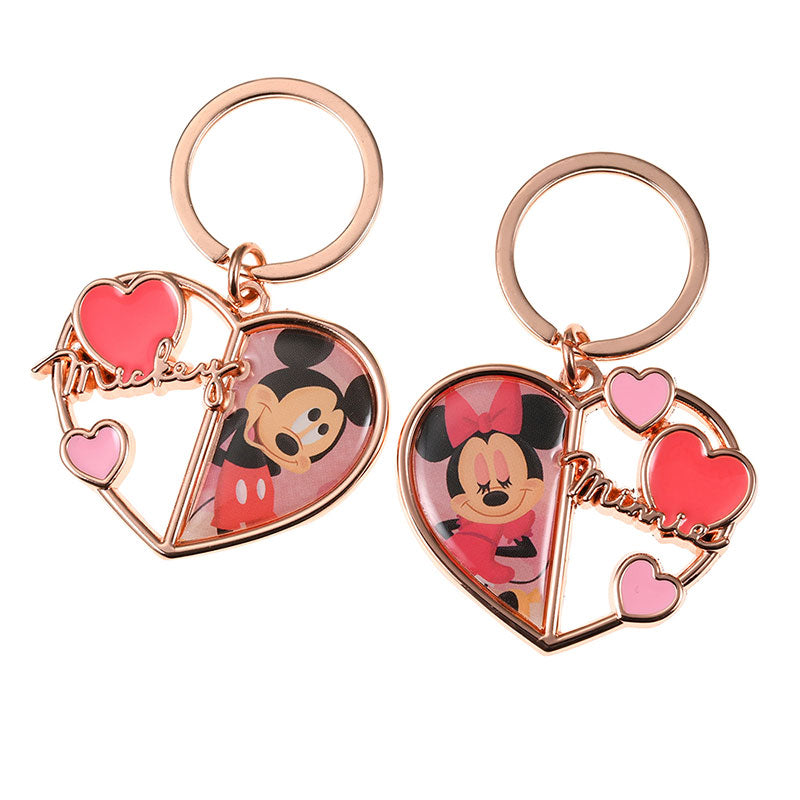 Mickey & Minnie Keychain Key Holder Heart Valentine 2020 Disney Store Japan