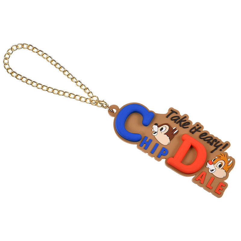 Chip & Dale Keychain Bag Charm Die-Cut Name Logo Disney Store Japan