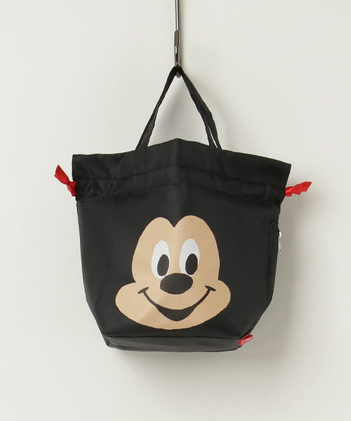 Mickey Face Thermo Keeper SACK Lunch Bag Black ROOTOTE Japan Disney