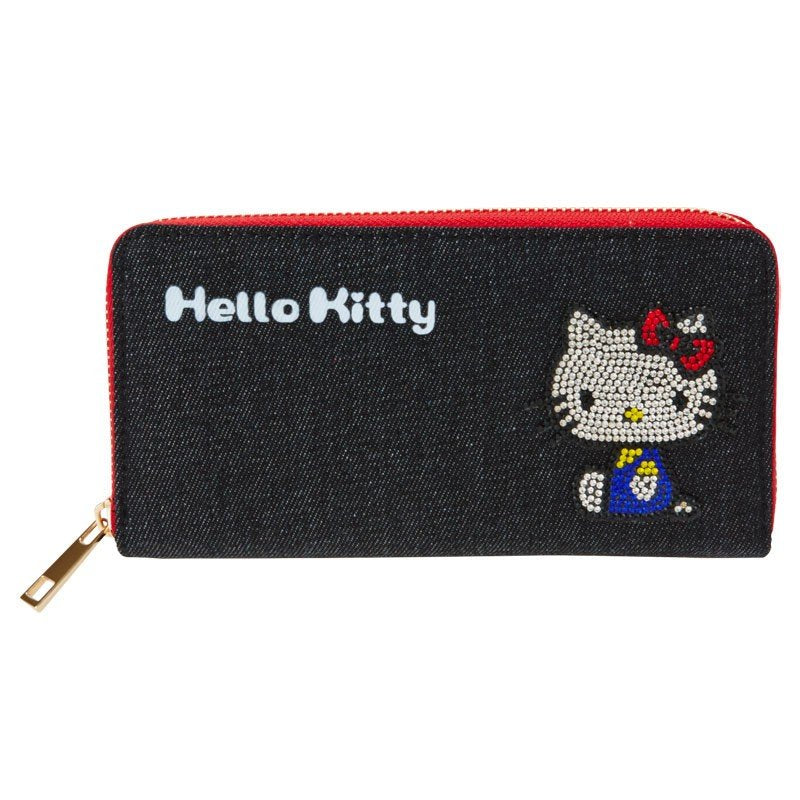 Hello Kitty Denim Zipper Long Wallet Glitter Sanrio Japan